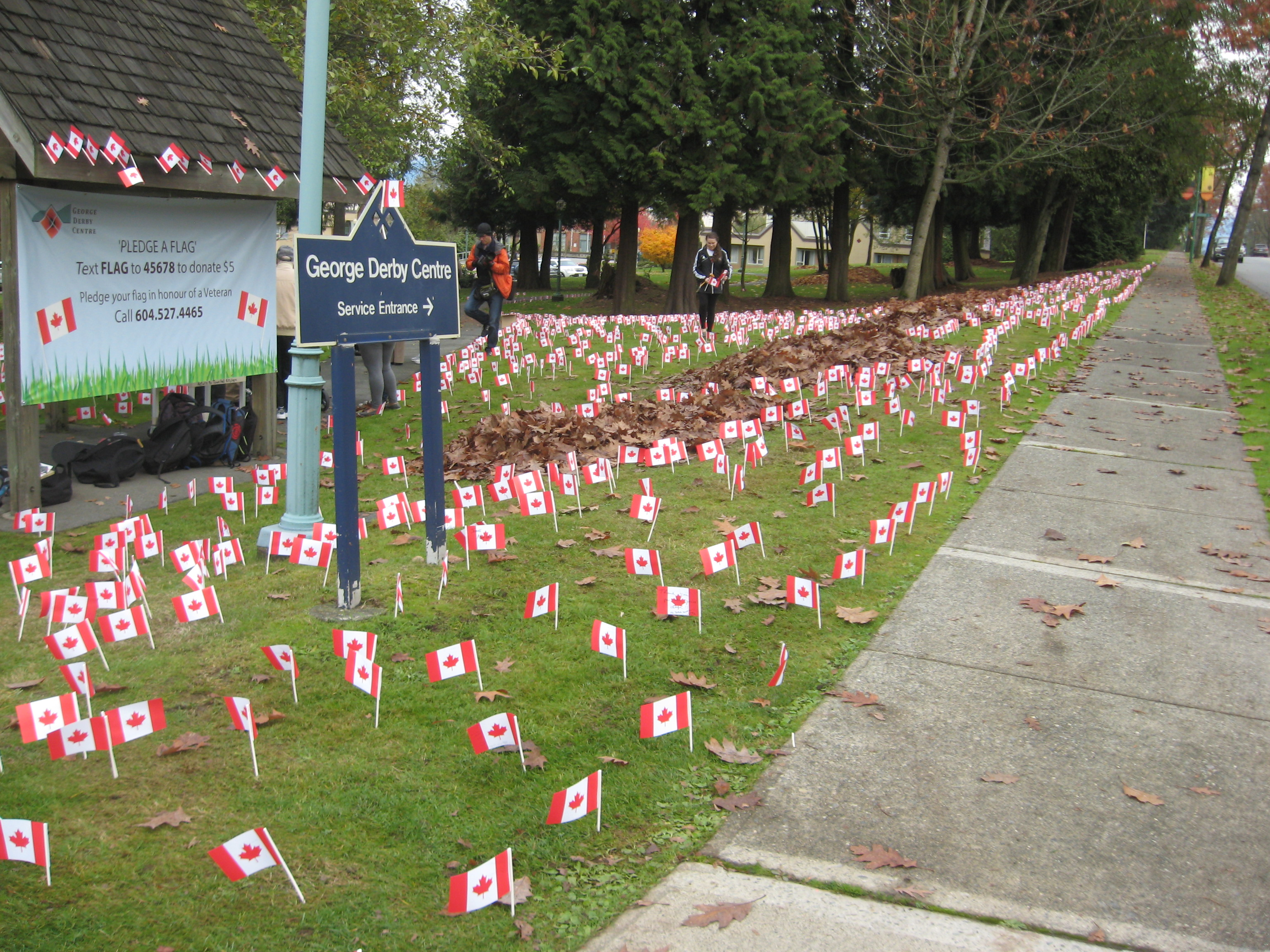 George Derby Centre Canadian flags - Made by The Flag Shop