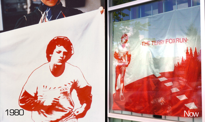 Terry Fox Flags - then and now