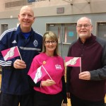 The mayor of Port Coquitlam, Greg Moore and his wife, Erin, showing off Anti-Bullying paper stick flags with our national business development manager Kevan Crozier. From I Am Someone's Walk2Talk event on February 22nd.