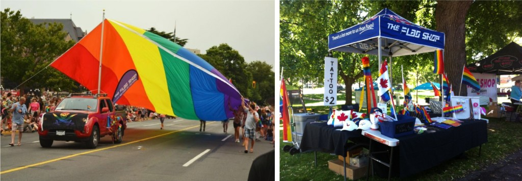 From left to right: The Flag Shop Victoria takes part in the local Pride Parade; The Flag Shop London set up a booth at Niagara Pride.