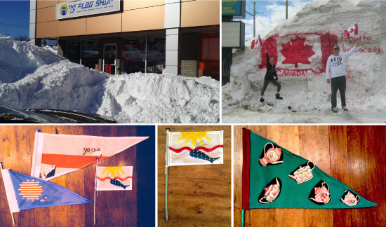 (Clockwise from top-left) The Flag Shop New Brunswick hiding behind a snow drift; A snow day meant a hard days work for store manager, Belinda's kids in New Brunswick; flags produced by the Make Club in Victoria