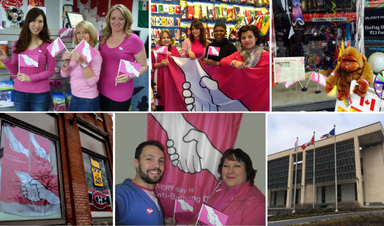 (Clockwise, from top-left) Sales and marketing staff at head office pose in their pink attire; The Flag Shop Toronto pulls out the flag to show where they stand; The Flag Shop Victoria has a gorilla to protect against bullying; Le Flag Shop Montréal proudly displays the message in their window; The Flag shop Saskatoon shows their support for the cause; An anti-bullying flag flies at Winnipeg City Hall