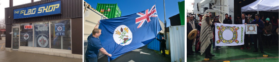 From left to right: The Flag Shop Winnipeg cheers on the Jets; the flag of Vancouver Island soars to new heights and new proportions (photo from the Times Colonist); Greenpeace Canada shows off their flag