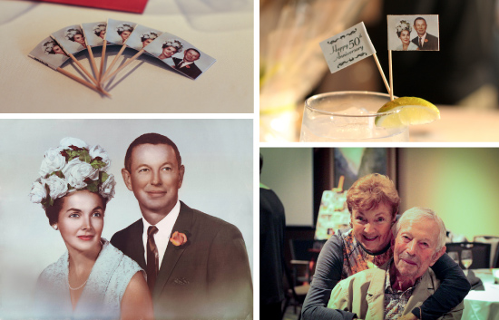 Clockwise, from top-left: Toothpick flags made for the occasion; Front and back of toothpick flags; Jack and Doreen Braverman after 50 years of marriage; Jack and Doreen Braverman's wedding portrait