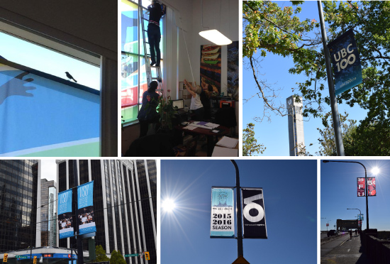 Clockwise, left to right: A bird became stuck in the Head Office; Corporate staff attempt to catch (and free) the bird; banners go up at UBC and at SFU; Vancouver Opera and Vancouver Symphony Orchestra banners are installed in Vancouver.