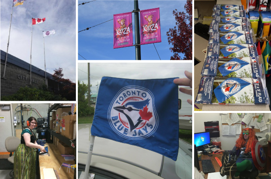 Clockwise, from top-left: Decoda Literacy Flags are flew all over British Columbia; Kooza banners go up in Vancouver; A line of Blue Jays flags ready for sale at The Flag Shop Saskatoon; Michael B. went as all of the Avengers; A nice car flag in New Brunswick; Rebecca L. asks if you want to build a stick flag?