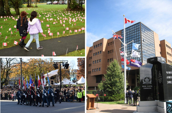 Clockwise, from top-left: Two children walk the path at the George Derby Centre; The flags of the Camp Hill Memorial in Nova Scotia; The flag parade during the Victory Square Ceremony in Vancouver.