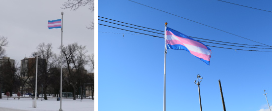 A Transgender flag flies in Winnipeg (photo from cbc.ca); A photoshoot for our new transgender flag in Vancouver.