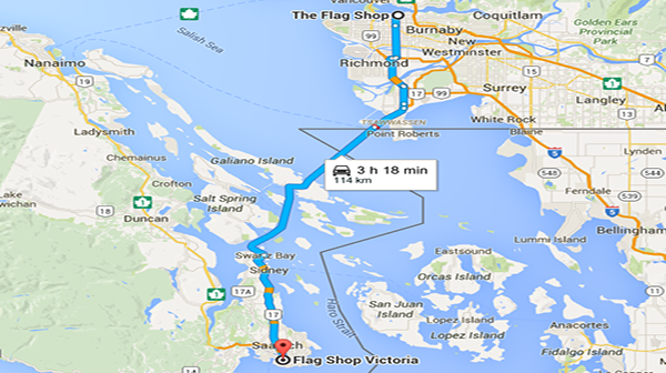 Photo: Google map from The Flag Shop Vancouver to The Flag Shop Victoria