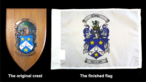 Close Flag - custom made - before and after