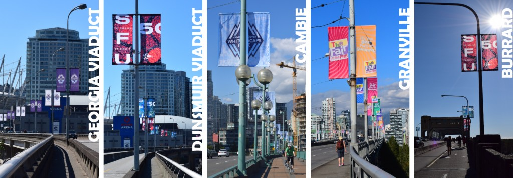 From left to right: Whitecaps Banners on the Georgia Viaduct; SFU 50th Anniversary on the Dunsmuir Viaduct; Brand New Whitecaps Banners on the Cambie Street Bridge; PNE Banners on the Granville Street Bridge; More SFU Banners on the Burrard Street Bridge.