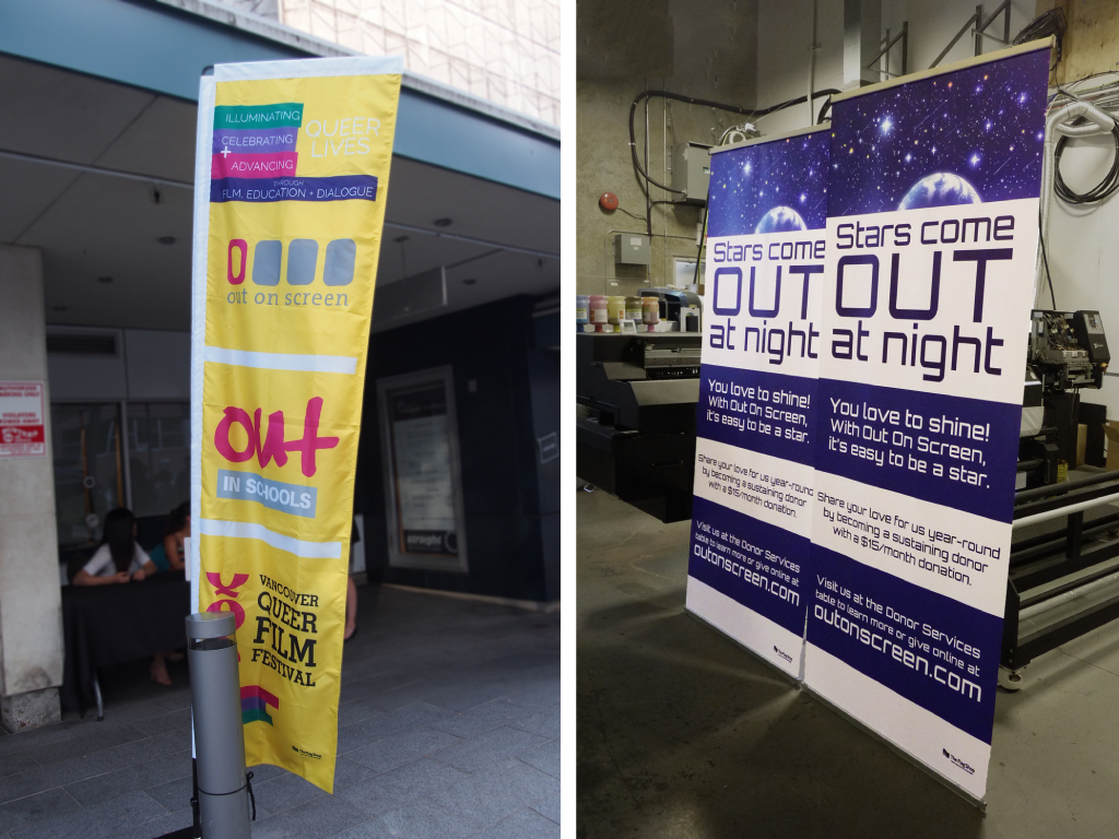 From left to right: A standing banner outside of the Out on Screen Gala Opening; Two retractable banners fresh off the press in our production warehouse.