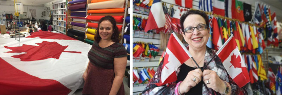 (Left-Right) President, Susan Braverman; The Flag Shop Calgary and Edmonton Owner, Phyllis Mandshein Bright