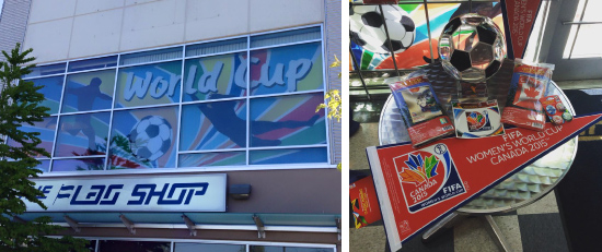 Left to Right) World Cup banner on display at the Head Office / The Flag Shop Vancouver location; The Flag Shop Chilliwack puts out a fun display of FIFA merchandise.