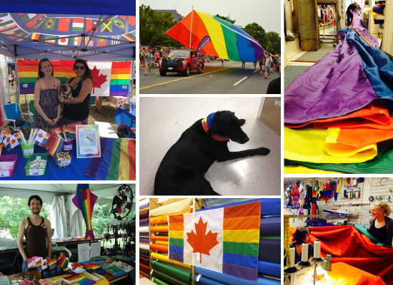 Clockwise from top-left: The Flag Shop Vancouver at the Vancouver Pride Festival; The Flag Shop Victoria and their giant Rainbow flag marching at Victoria Pride; The making of The Flag Shop Victoria Pride flag; The Flag Shop Victoria having fun making a giant rainbow flag; One of our first sewn Canada Pride flags; The Flag Shop Saskatoon at a pride event; (centre) Sarah the Wonder dog relaxing in her Pride scarf at The Flag Shop Edmonton