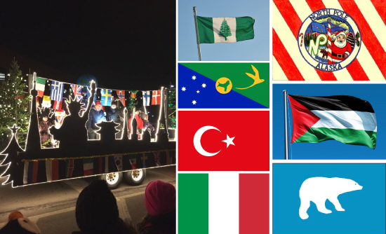 Left to Right: An around the world theme for a Santa Claus parade in Fredericton, NB; The Flag Shop Saskatoon did an informative series on the flags of 'Christmas.'